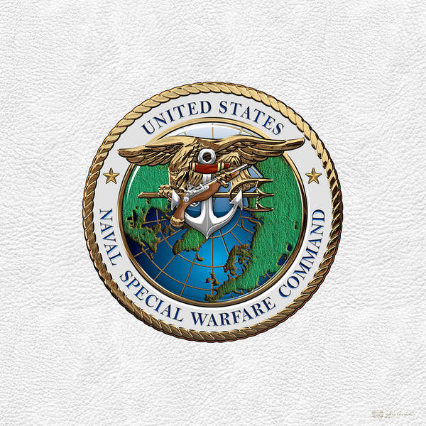 Digital Art - Naval Special Warfare Command -  N S W C - Emblem Over White Leather by Serge Averbukh