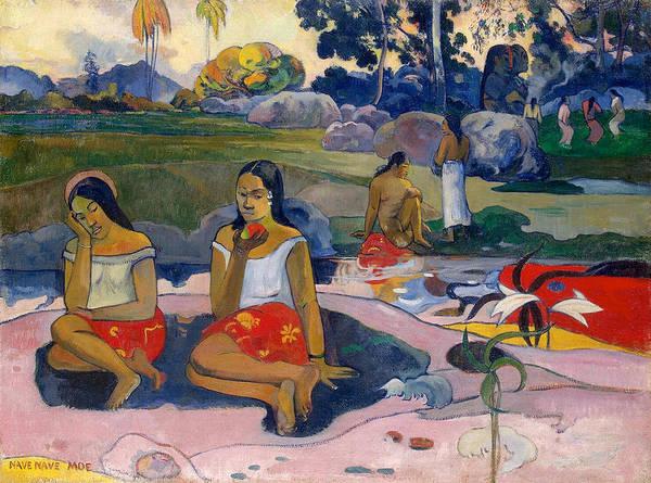 Metaphor Painting - Nave Nave Moe, Sacred Spring, Sweet Dreams by Paul Gauguin