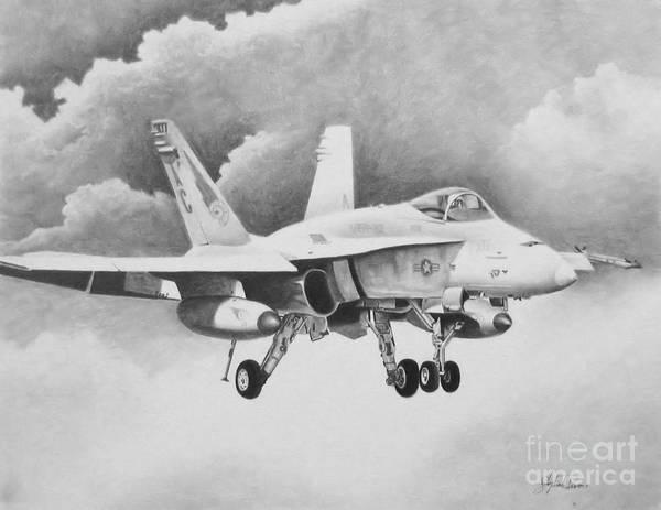 A-18 Hornet Wall Art - Drawing - Navy Hornet by Stephen Roberson
