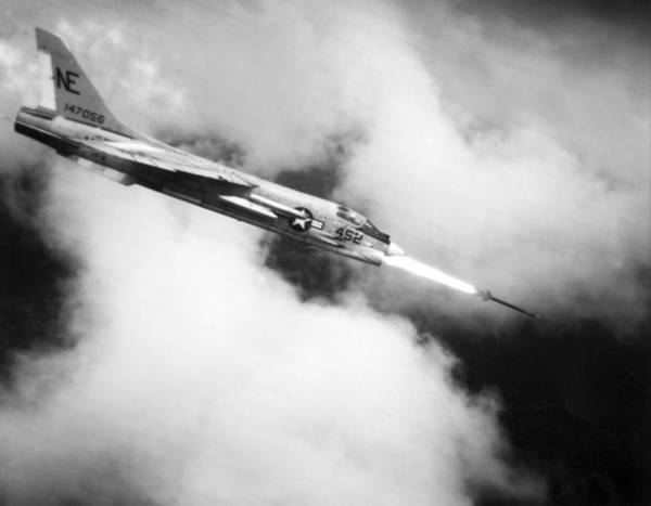 Wall Art - Photograph - Navy Jet Fires At Viet Cong by Underwood Archives