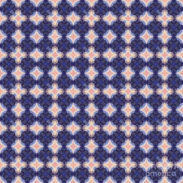 Textura Wall Art - Digital Art - Navy Kaleidoscope Pattern by Studio Textura