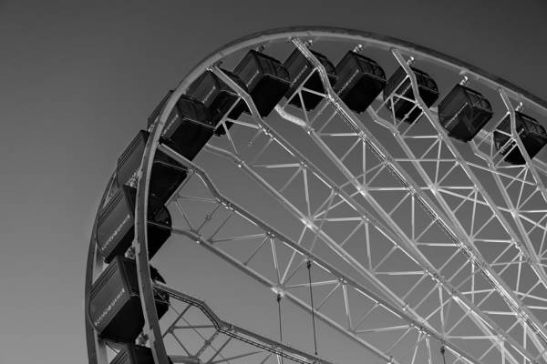 Wall Art - Photograph - Navy Pier Ferris Wheel Chicago B W by Steve Gadomski