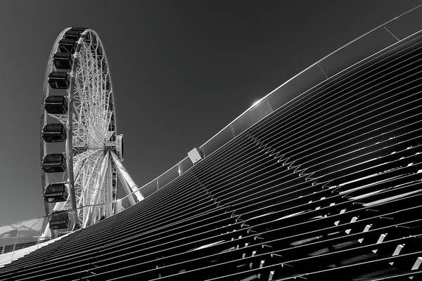 Wall Art - Photograph - Navy Pier Wheel Chicago B W by Steve Gadomski