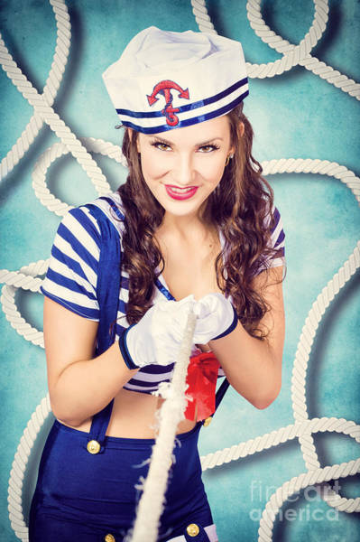 Photograph - Navy Sailor Pinup Girl In Tug Of War Battle by Jorgo Photography - Wall Art Gallery