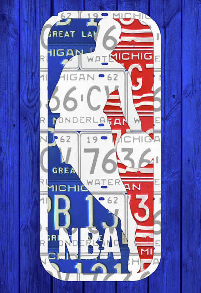 Nba Mixed Media - Nba Logo License Plates Art by Design Turnpike