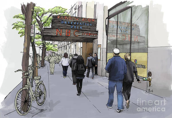 Wall Art - Painting - Nbc Studios New York City, Handmade Sketch Croquis by Drawspots Illustrations