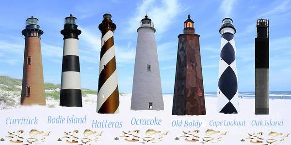 Ocracoke Lighthouse Photograph - Nc Coastal Lighthouse Collage by Angel Rypkema