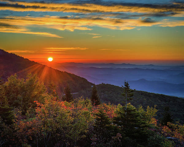 Photograph - Nc Mountain Sunrise Blue Ridge Mountains by Mike Koenig