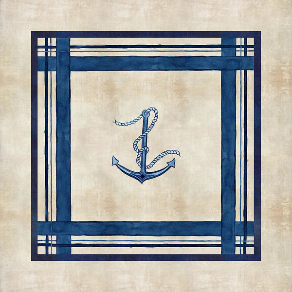 Casual Painting - Indigo Ocean - Nautical Anchor Watercolor Stripes by Audrey Jeanne Roberts