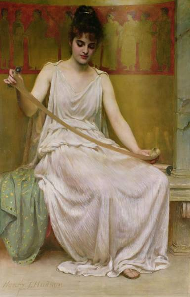 Poetry Painting - Neaera Reading A Letter From Catullus by Henry John Hudson