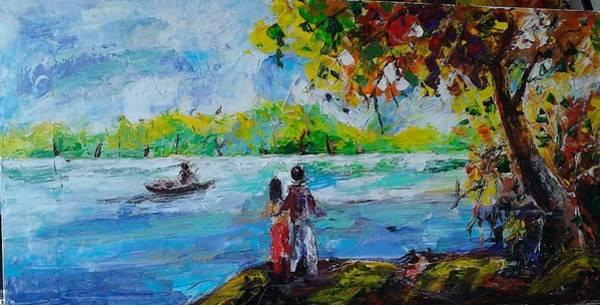 Wall Art - Painting - Near By The Lake Side by Sudumenike Wijesooriya