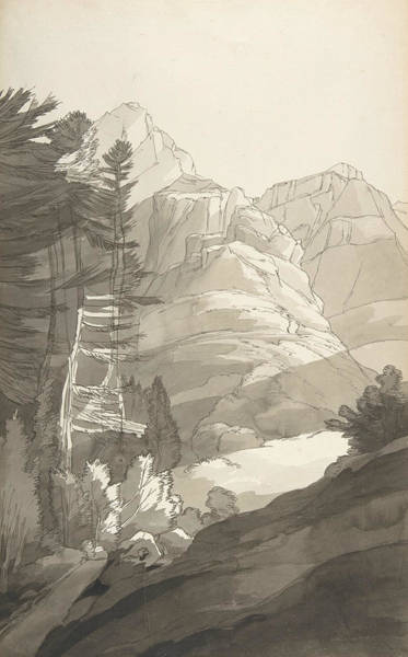 Drawing - Near Glaris, Switzerland by Francis Towne