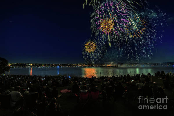 Wall Art - Photograph - Near The Ocean, On The Beach, People At Night Look At Firework by Viktor Birkus