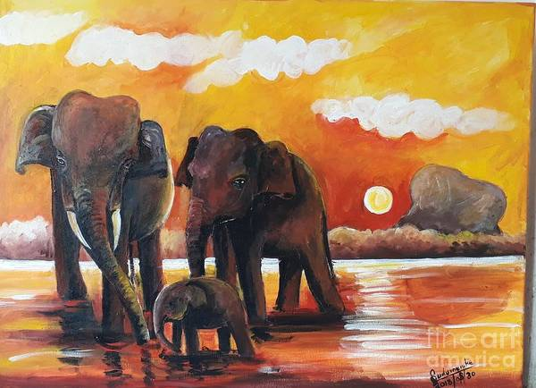 Wall Art - Painting - Near The Sigiriya by Sudumenike Wijesooriya