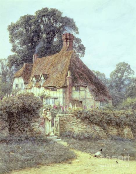 Half Timbered Painting - Near Witley Surrey by Helen Allingham