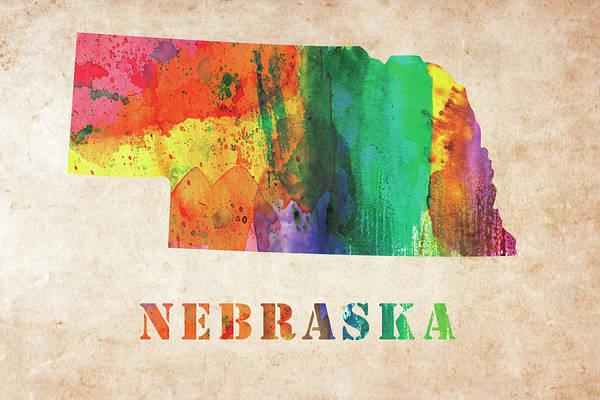 Nebraska Digital Art - Nebraska Colorful Watercolor Map by Mihaela Pater