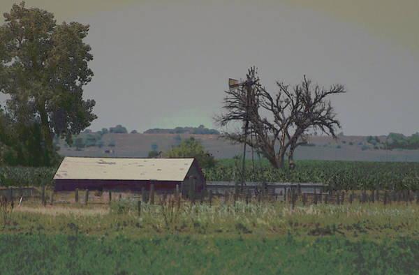Photograph - Nebraska Farm Life - Old Barn And Windmill by Colleen Cornelius