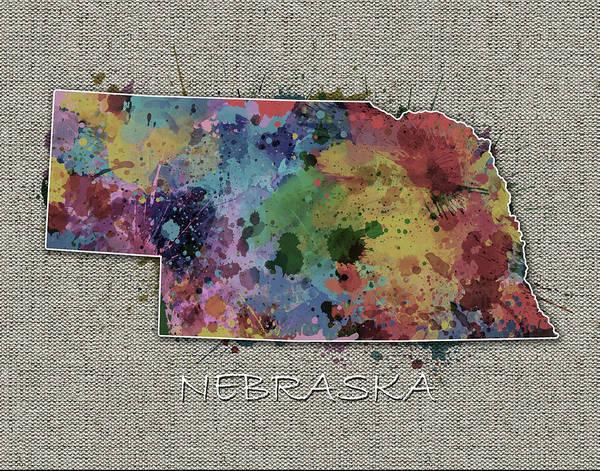 Nebraska Digital Art - Nebraska Map Color Splatter 5 by Bekim M