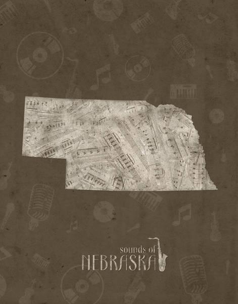 Nebraska Digital Art - Nebraska Map Music Notes 3 by Bekim M