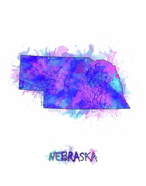 Nebraska Digital Art - Nebraska Map Watercolor 2 by Bekim M