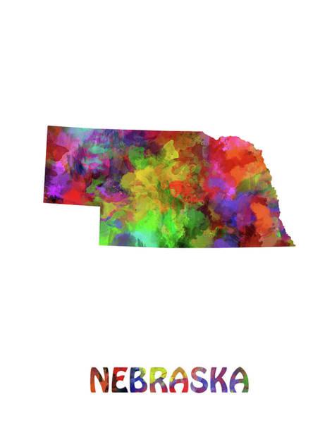 Nebraska Digital Art - Nebraska Map Watercolor by Bekim M