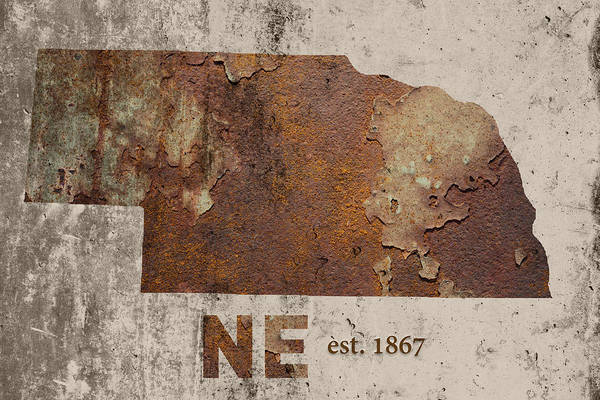 Nebraska Wall Art - Mixed Media - Nebraska State Map Industrial Rusted Metal On Cement Wall With Founding Date Series 039 by Design Turnpike