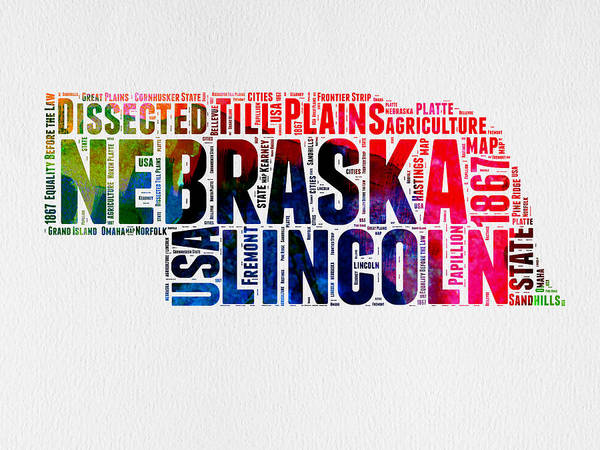 Map Art Mixed Media - Nebraska Watercolor Word Cloud  by Naxart Studio