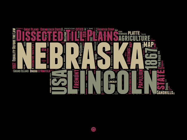 Map Art Mixed Media - Nebraska Word Cloud 1 by Naxart Studio