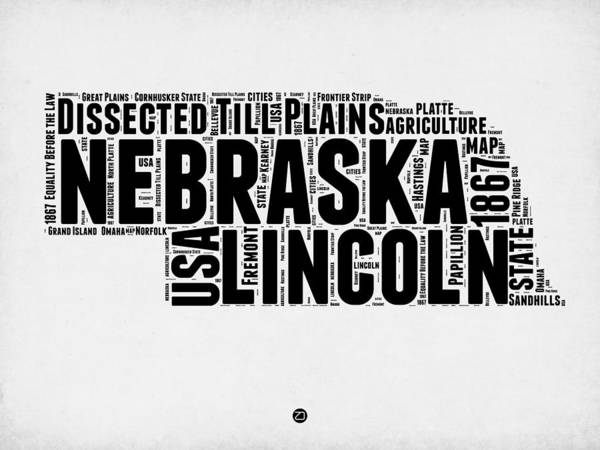 Map Art Mixed Media - Nebraska Word Cloud 2 by Naxart Studio