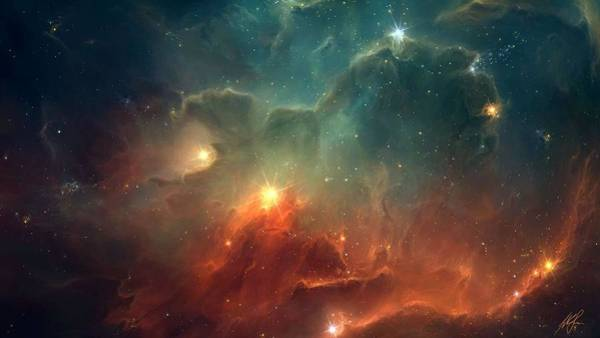 Star Cluster Painting - Nebula 2 by Celestial Images