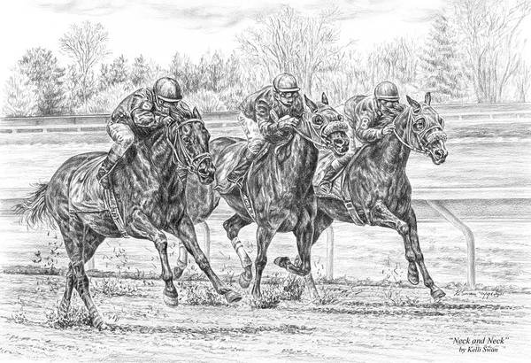 Equestrian Drawing - Neck And Neck - Horse Racing Art Print by Kelli Swan