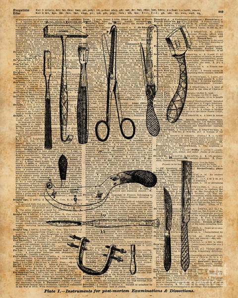 Wall Art - Digital Art - Necropsy Kits,anatomy Medical Instruments,surgery Decoration,dictionary Art,vintage Book Pag by Anna W