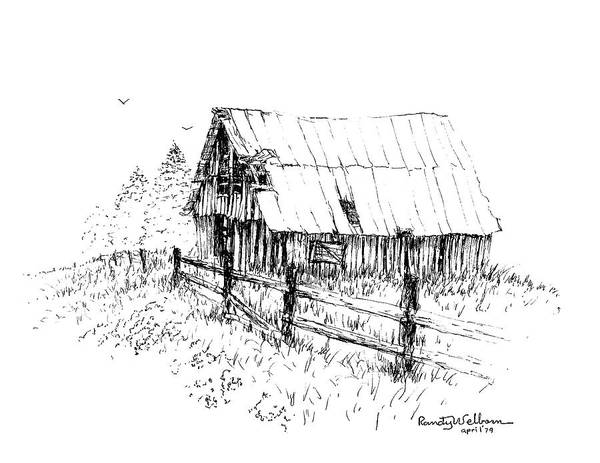 Barn Drawing - Need A Little Roof Repair by Randy Welborn