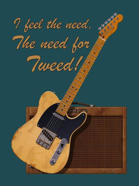Electric Guitar Wall Art - Digital Art - Need For Tweed Tele T Shirt by WB Johnston
