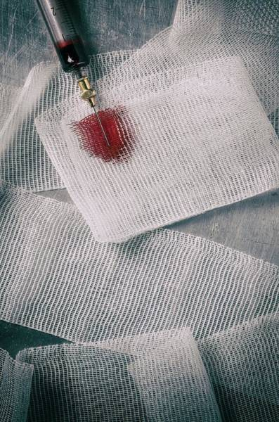 Bandage Photograph - Needle Dropping Blood by Carlos Caetano