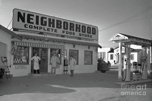 Photograph - Neighborhood Complete Food Store And Shell Gas Station Circa 1940 by California Views Archives Mr Pat Hathaway Archives