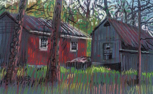 Rural Drawing - Neighbor's Barns by Donald Maier