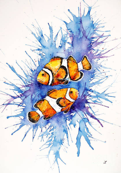 Clownfish Painting - Neighbors by Zaira Dzhaubaeva