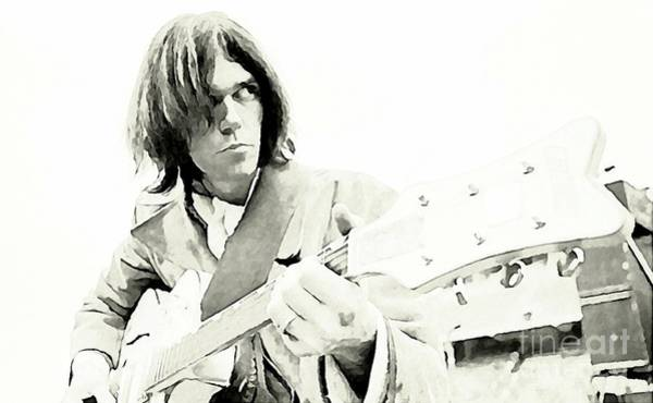 Wall Art - Painting - Neil Young Watercolor by John Malone