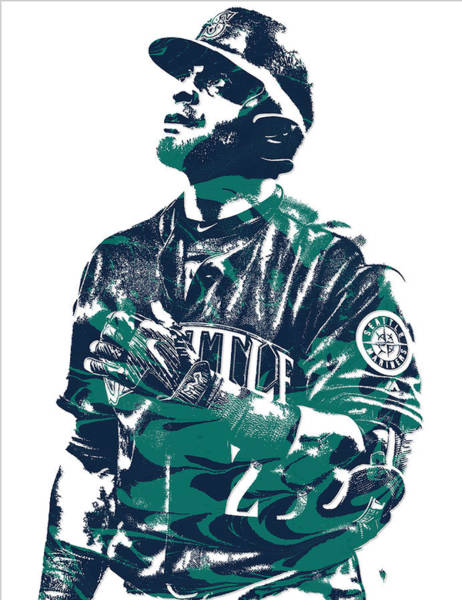 Wall Art - Mixed Media - Nelson Cruz Seattle Mariners Pixel Art 4 by Joe Hamilton
