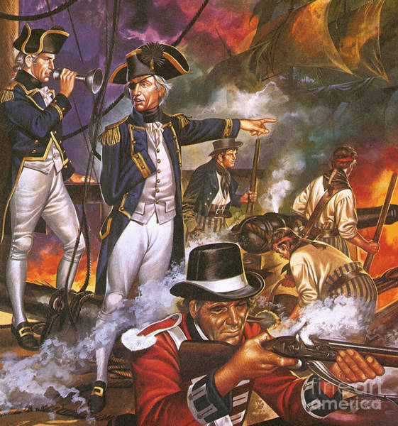 Wall Art - Painting - Nelson In The Battle Of Trafalgar by Ron Embleton