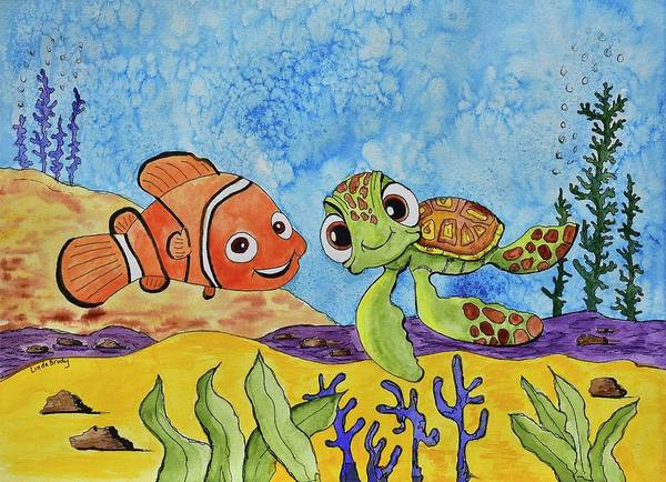 Clownfish Wall Art - Painting - Nemo And Squirt by Linda Brody