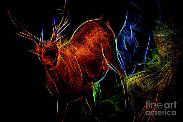 Digital Art - Neon Buck by Ray Shiu
