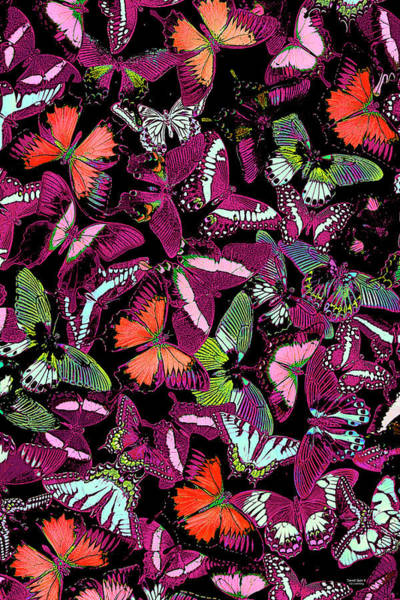 Wall Art - Painting - Neon Butterfly Vertical by JQ Licensing