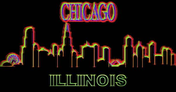 Neon Mixed Media - Neon Chicago Skyline Sign by Dan Sproul