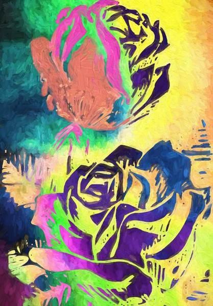Neon Pink Painting - Neon Flowers by Dan Sproul