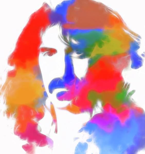 Moustache Mixed Media - Neon Frank Zappa by Dan Sproul