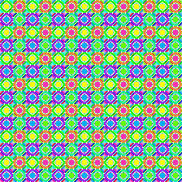 Wall Art - Digital Art - Neon Geometric Pattern by SharaLee Art