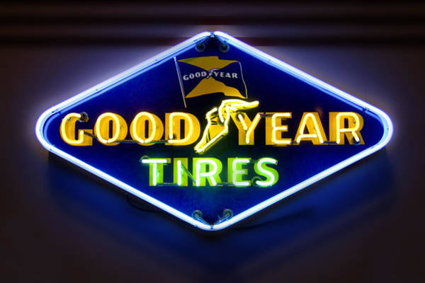 Tire Photograph - Neon Goodyear Tires Sign by Mike McGlothlen
