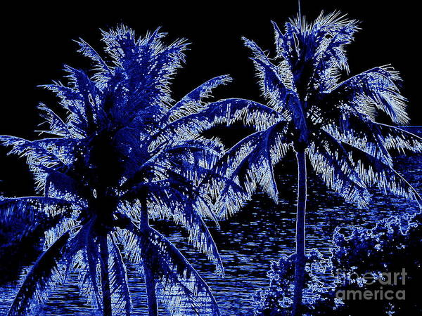 Cell Phone Cases Mixed Media - Blue Neon Palms by Jennifer Capo